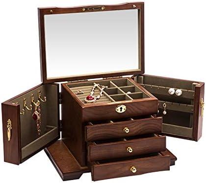 Caja de joyería, idea de madera, pendientes, caja de ...