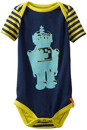 Crocs Unisex-Baby Newborn Short Sleeve Bodysuit, Navy Citrus, 9 Months