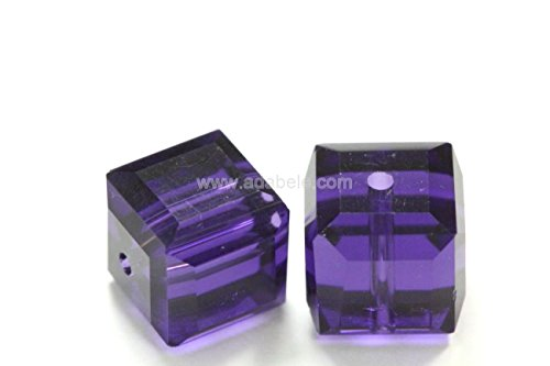 50 6mm Adabele Austrian Cube Crystal Beads Purple Velvet Alternative For Swarovski Preciosa Crystalized 5601 #SSC627 6 Mm Cut Cubes