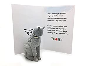 Cat Statue with Angel Wings with Loss of Pet Gifts Card Rainbow Bridge Theme Gift Set