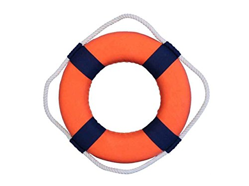 """Hampton Nautical  Vibrant with Bands Decorative Life Ring Beach Decorating Ideas Accessories for Home, 10"""", Orange/Blue"""