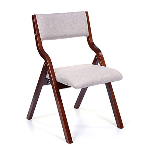 Folding Dining Chair with Backrest, Wood-based Panel Lounge Chair with Removable Seat Cover Creative Brown Bracket Desk Chair for Computer Table (Color : ()