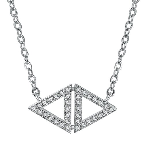 (GuqiGuli White Gold Plated Silver-Tone Cubic Zirconia Diamond Double Triangle Pendant Necklace for Women, 18'')