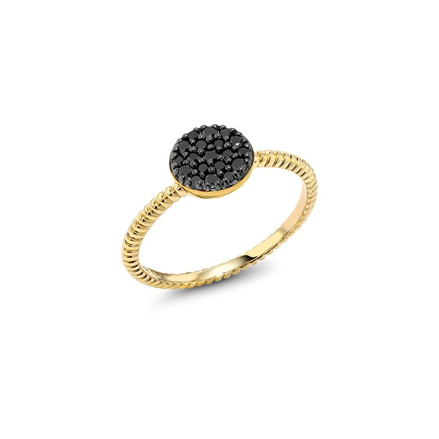 10K Solid Yellow Gold 0.20 Cttw Black Diamond Anniversary Wedding Ring (Available 5,6,7,8,9)