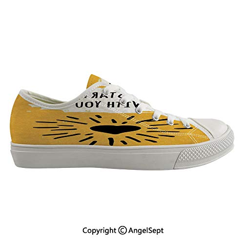 Durable Anti-Slip Sole Washable Canvas Shoes 16.53inch It Starts with You Phrase and Heart Shaped Beaming Sun Creative Typographic Art,Yellow White Flexible and Soft Nice Gift
