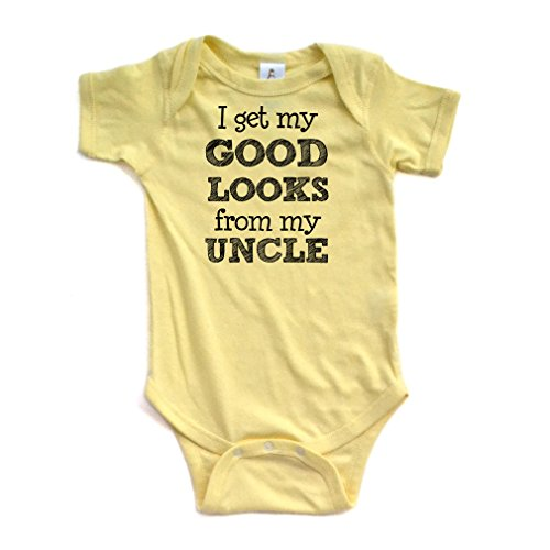Apericots I Get My Good Looks from My Uncle Short Sleeve Baby Bodysuit Yellow