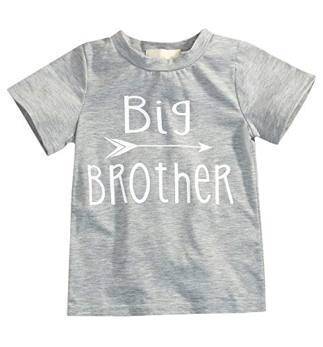 Younger star 1PC Children Baby Boy Gray Letter Print Short Sleeve T-Shirt Clothes Outfit (Gray-Brother, 3 T) by Younger star (Image #7)