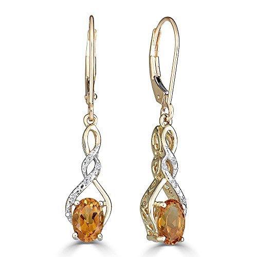 Citrine And Diamond Earrings (Citrine Earrings Diamond Accent in 10k Yellow Gold)