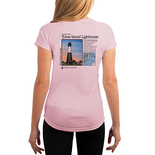 Guiding Lights Tybee Island Light Women's UPF 50+ Short Sleeve T-Shirt X-Small Pink Blossom (Blossom Island Light)