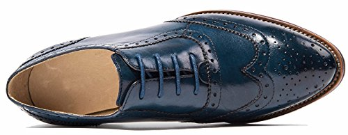 lite Lace up Vintage Women's Shoes Blue Oxford Perforated Wingtip Oxfords Leather Brogues U Flat dqwt4Iq