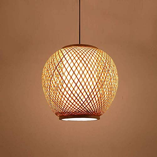 LAMTON Bamboo Chandelier Handmade Pendant Lamp DIY Woven Round Lampshade E27 Natural Bamboo Rattan Ceiling Light for Kitchen Living Room Bedroom Restaurant Hotel Fixture