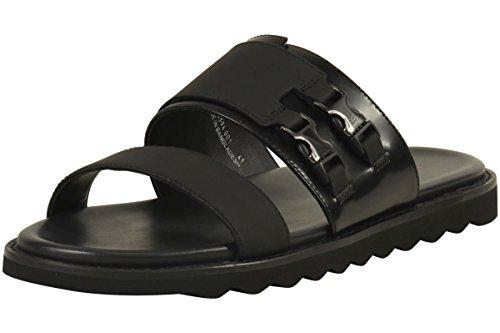 Hugo Boss Mens Delight Dubbele Gesp Zwarte Slides Sandalen Schoenen Sz: 8