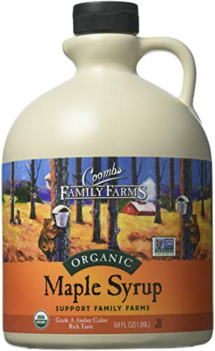 Coombs Family Farms Organic Maple Syrup, Grade A Amber Color, Rich Taste, 64 oz Jug