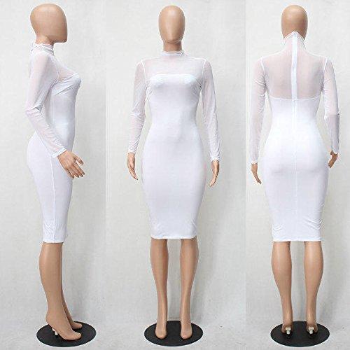 Bettergirl (tm) Des Femmes De Pure Sexy Manches Longues Mailles Stretch Moulante Robe Blanche