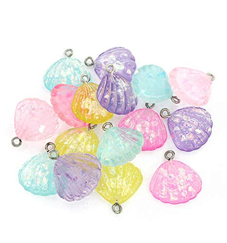 Extensive Collection of Charm 4 Seashell Charms Glitter Resin Silver Tone Loop Assorted Pastel Colors - K293 Express -