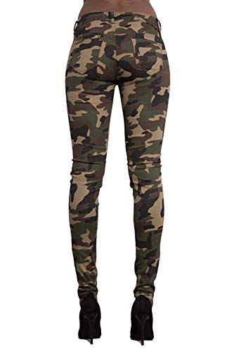 Pantaloni Per Primaverile Autunno Verde Eleganti Libero Pantaloni Militari Pants Skinny Donna Fashion Pantaloni Strappato Costume Donna Hipster Femminile Elastico Vintage Tempo Matita 8q0UAw