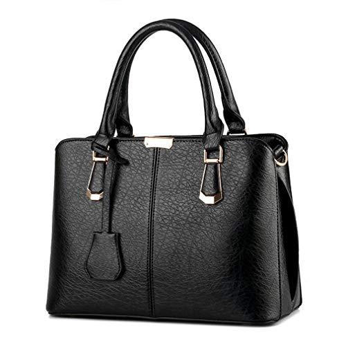 Piel Bolsas Mujer 30x15x23cm negro Mujer Mujer sintética para de Granate qingqinghebiao de diseño Hombro gBwdgqX