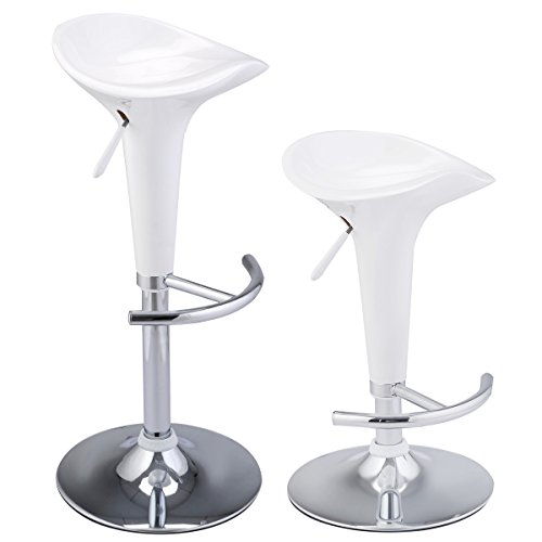 PROSPERLY U.S.Product White Set of 2 Modern Bombo Style Swivel Barstools Adjustable Counter Chair Bar - Outlet Designer Essex