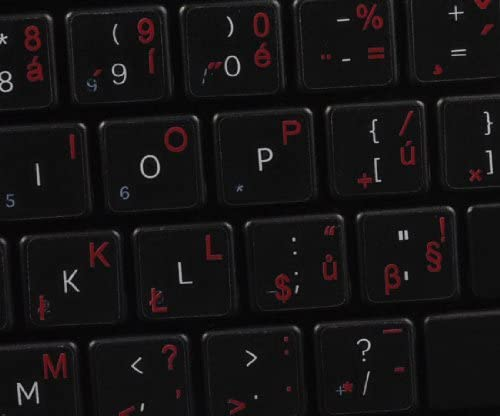 RED Orange Czech Keyboard Decals ON Transparent Background with Blue Blue 14X14 White OR Yellow Lettering
