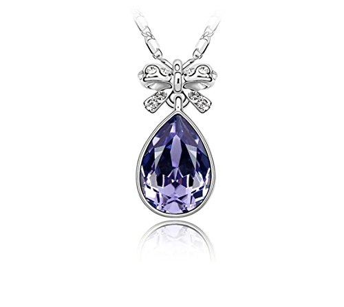 Gorgeous Jewelry Swarovski Austrian Crystal Necklace the Butterfly Flavor Purple Water Drop Pendant