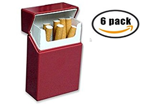 100's Cigarettes ((6 Pack) Extra Hard Box Full Pack Cigarette Case Hard Plastic Cigarette Case Box For 100mm Cigarettes (All Colors Included))