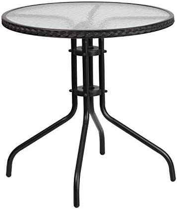 Flash Furniture 28'' Round Tempered Glass Metal Table
