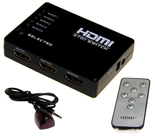 Esamconn® HDMI Switch / Umschalter, 5x1 5 Anschlüsse HDMI Audio / Video-Switch mit IR-Fernbedienung für Blu-Ray, PC, HDTV, Xbox, PS3, DVD etc. Unterstützt 3D-1080p