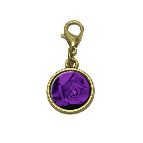Rose Flower Purple Petals Cute Bracelet Pendant Charm