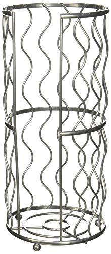 Resistente construcción de alambre Tres–Rollo cesta redonda de papel higiénico para el baño en níquel satinado,...