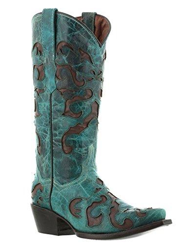 Cowboy Professionale Donna Turchese 770 Overlay Stivali Da Cowboy In Pelle Turchese