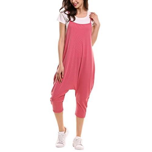 9530fd7302e Zeagoo Women s Spaghetti Strap Harem Jumpsuit One Piece Backless Mid-Calf  Loose Playsuit Romper best
