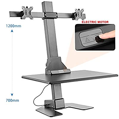 Sit Stand Desk Converter Dual Monitor Mount - Height Adjustable Desk