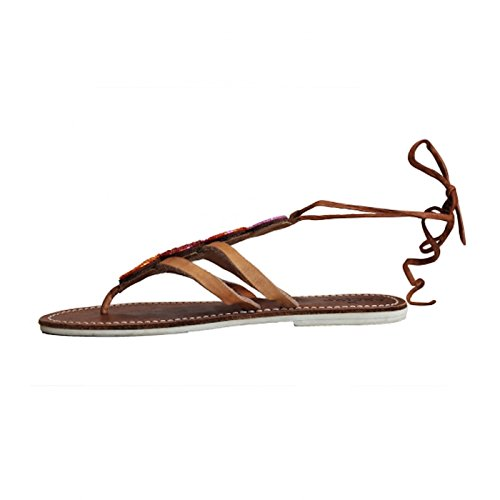 Aspiga Sandals Ankle Wrap Leather Coral Komosa AAPHqB4