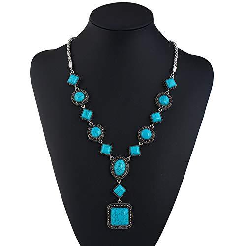 Jewelry Turquoise Necklace Retro Diamond Round Geometric Shape Alloy - Geometric Necklace Turquoise