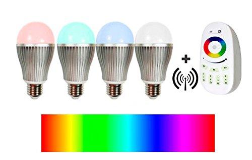 Pack 4 bombillas LED RGB de colores, de