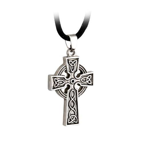 Tara Mens Celtic Cross Necklace Stainless Steel Pewter Finish 20 Inches Cord Irish Made ()