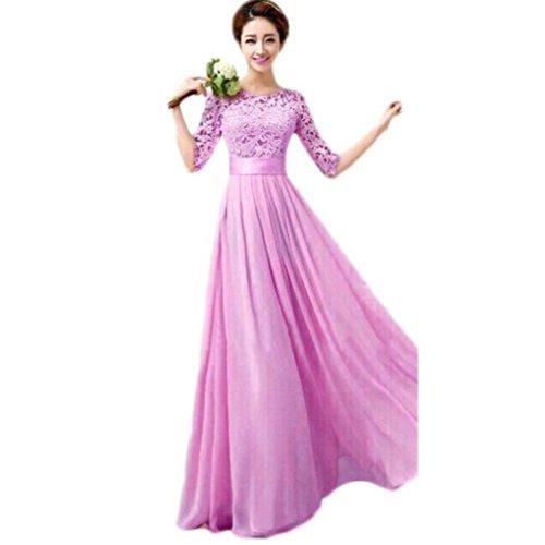 Women's Lace Chiffon A-line Long Maxi Dress Evening Wedding Bridesmaid Gown (M, Hot Pink) by Zainafacai