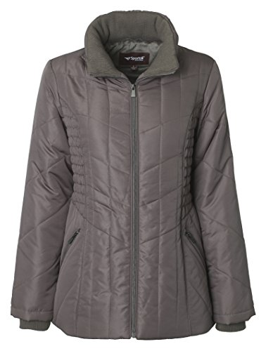 Sportoli Women's Midlength Ruched Detail Plush Lined Puffer Coat with Zip-Off Detacheable Fur Trim Hood - Fog with Polished GunMetal (2X) by Sportoli (Image #3)