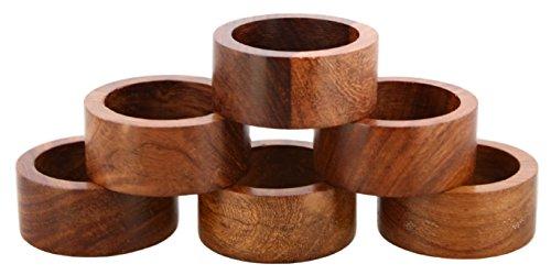 Shalinindia Handmade Wood Napkin Ring Se...