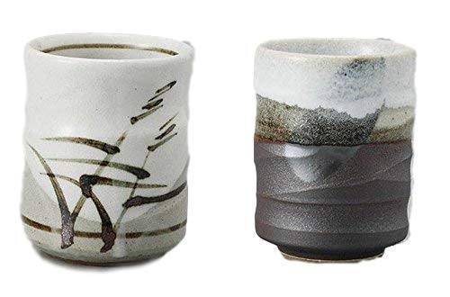 Japanese tea cups Yunomi brown and reed motif beautiful design, set of 2, 6 ounce