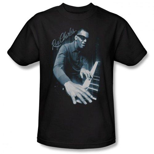 Ray Charles Men's T-Shirt Blues Piano, 3XL, Black
