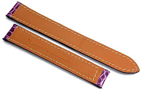 15 mm alligator armband passar Cartier hopfällbart spänne tyskt handarbete violett