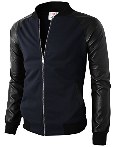 H2H Men's Casual Long Sleeve Full Zip Jacket with Shoulder Straps Navy US 3XL/Asia 4XL (KMOJA0126)