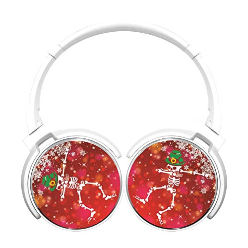Dab Skeleton Holiday Customized Wireless Retractable Bluetooth Headphones Headsets Over Ear for Kids Or Adults White