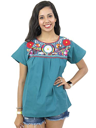 Ethnic Identity Mexican Blouse Puebla (Small, Teal Green)