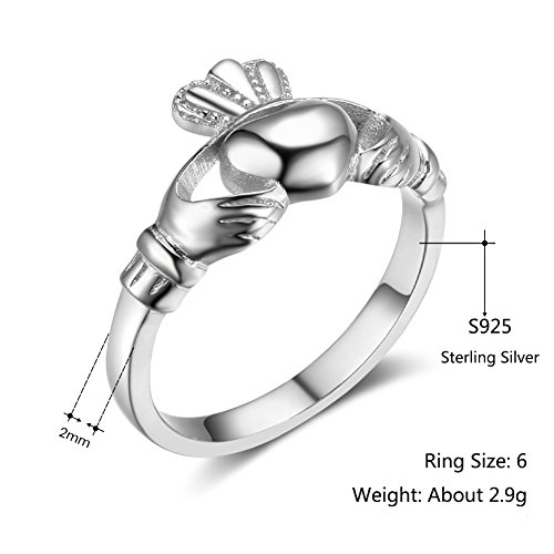 Furious Jewelry S925 Sterling Silver Irish Ladies' Claddagh Ring, Size 6 7 8 9 (6) by Furious Jewelry (Image #3)