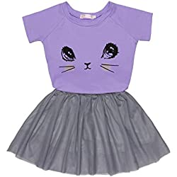 Arshiner Toddler Baby Kids Girls Summer Clothes Set Cartoon Cat Top T-Shirt + Tutu Skirts Dress Outfits