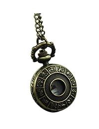 VIGOROSO Men's Twelve Animal Zodiac Antique Bronze Steampunk Necklace Pendant 26mm Pocket Watch