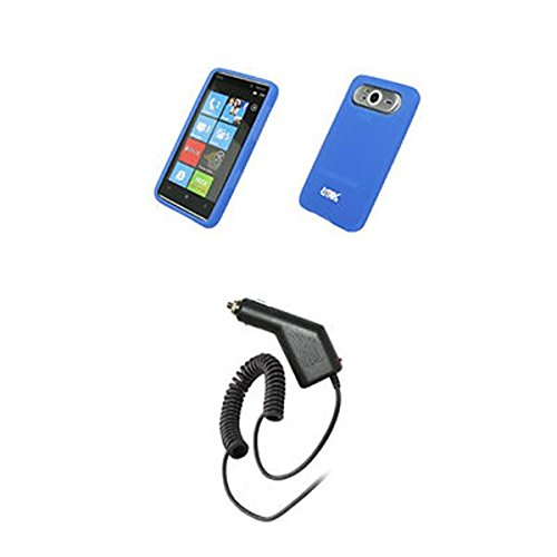 EMPIRE Blau Silicone Skin Cover Case Tasche Hülle + Auto Charger (CLA) for HTC HD7