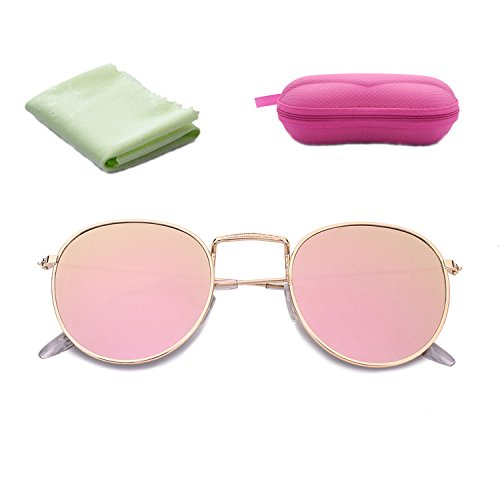 Classic Metal Frame Round Circle Mirrored Sunglasses UV Eye Protection for Unisex (Pink, - Sunglasses Women Face For Round